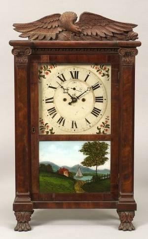 Classical Mahogany Carved and Mahogany Veneer Shelf Clock