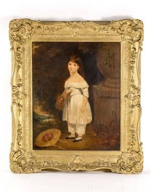 American School 19th C Portrait of Young Girl