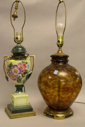 Tortoise Glass Table Lamp and a Floral Decorated Ceramic Table Lamp