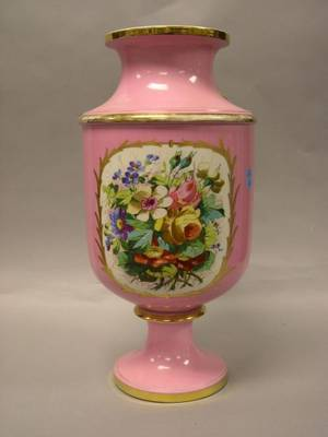 Sevres Porcelain Enamel Genre and Floral Decorated Footed Vase