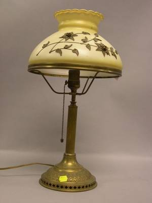 Bradley  Hubbard Brass Table Lamp with Giltmetal Floral Mounted Glass Shade