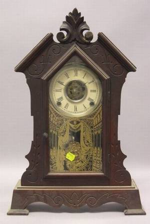 Waterbury Clock Co Gothic Revival Walnut Shelf Clock