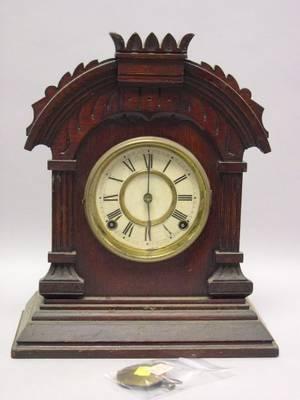 Ansonia Clock Co Tunis Carved Oak Mantel Clock