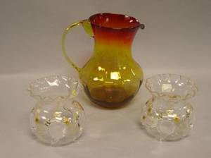 Amberina Glass Pitcher and a Pair of British Gilt Floral Enamel Decorated Vases