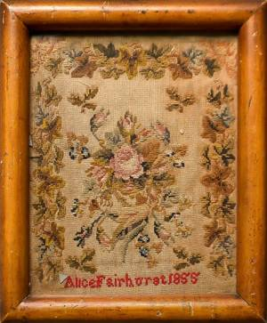 English silk on linen sampler dated 1834 and wrought by Ellen Davies