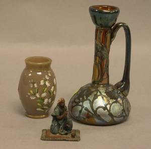 Loetztype Silver Overlaid Iridescent Art Glass Handled Vase Small Austrian Cold Painted Bronze Arab Figure and a Victorian Enamel Flo