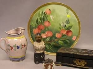 Quimper Pitcher an Asian Bronze Figure Victorian Lacquered Box a English Mustard Pot and a Handpainted Porcelain Plate