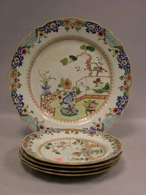 Set of Four Chinese Export Porcelain Plates and a Charger