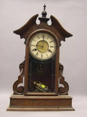 Waterbury Clock Co Carved Walnut Shelf Clock