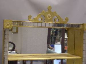 Italian Gilt and Mirrored Wall Shelf and an Art Deco Parcelgilt and Walnut Veneer Inlaid Dressing Mirror on Cabinet
