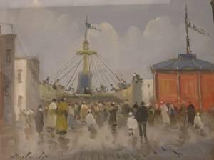 Framed Oil View of a Fair at a Pier