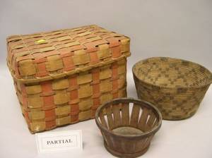Group of Nine Native American Ethnographic and Japanese Woven Baskets