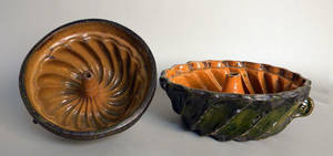 Two redware food molds