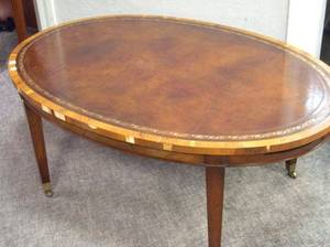 Old Colony Furniture Oval Leather Inset Fruitwood Coffee Table