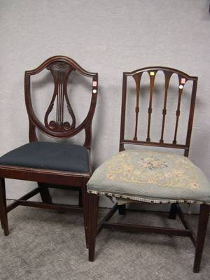 Windsor Birdcage Side Chair and Two Federal Mahogany Side Chairs