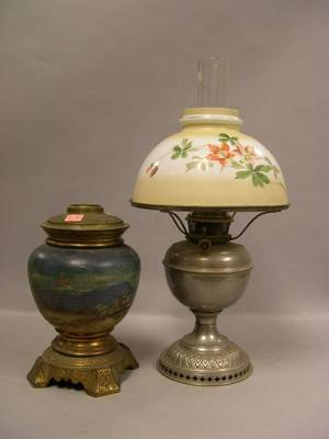 Bradley  Hubbard Metal Kerosene Lamp with Floral Painted Dome Shade and a Handpainted Landscape Decorated Oil Lamp Base