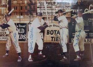 Large Framed and Signed Photograph of Four Baseball Hall of Famers