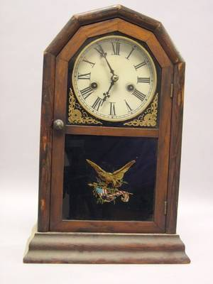 Atkins Clock Co Rosewood Shelf Clock with Eagle Decorated Glass Tablet