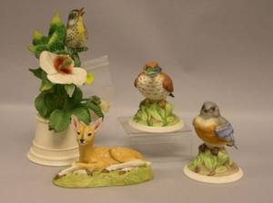 Three Boehm Porcelain Bird Figures and an Aynsley Porcelain Roe Deer Fawn