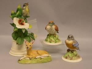 Three Boehm Porcelain Bird Figures and an Aynsley Porcelain Roe Deer Fawn