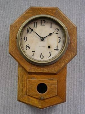 Seth Thomas Octagonal Oak Regulator Wall Timepiece