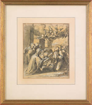 Old Masters double sided ink and gouache study of the Adoration of the Child