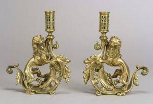 Pair of Bronze Renaissance Revival Lion Candlesticks
