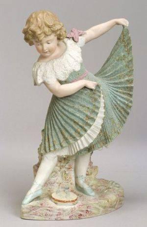 German Bisque Figure of a Little Girl Dancing