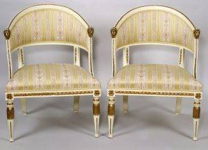 Pair of Regencystyle Painted and Parcelgilt Barrelback Armchairs