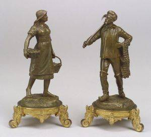 Pair of French Bronze Figures of a Fisherman and his Wife