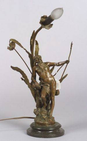Continental Bronze Figural Neptune Lamp