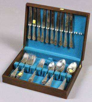 Tiffany  Co Sterling Partial Antique Ivy Flatware Service