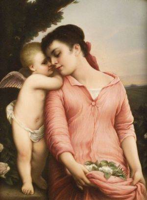 Berlin Porcelain Plaque of Maiden and Cherub