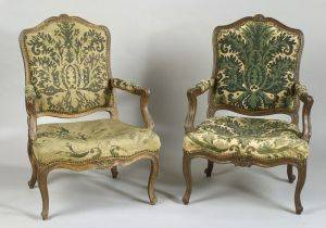 Pair of Louis XV Style Beechwood and Needlework Upholstered Fauteuils a la Reine
