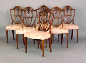 Set of six Hepplewhite style mahogany shieldback dining chairs