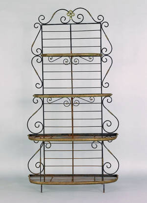 Iron and brass four tier bakers rack 20th c