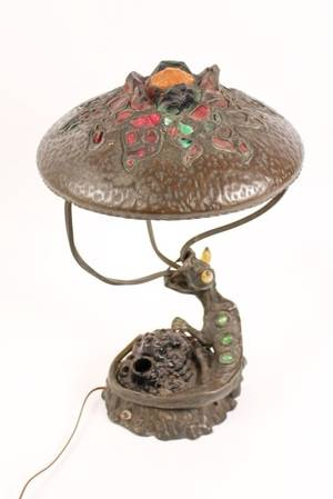 Austrian Bronze Lamp w Chunk Jewels  Serpent