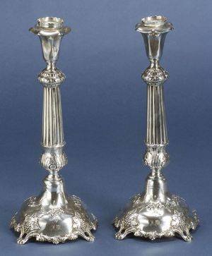Pair of Neoclassicalstyle Czechoslovakian 900 Silver Candlesticks