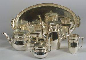 German Art Deco Five Piece Silver Plated Tea and Coffee Service