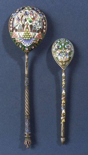 Russian Silver and Enamel Tablespoon