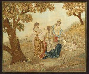 English Silk and Chenille Needlework Picture of the Discovery of Moses