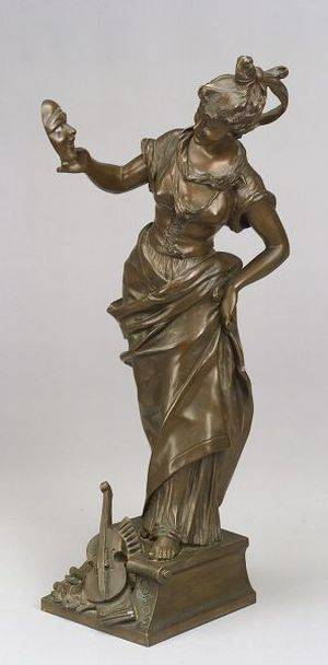 French Bronze Allegorical Figure of Comedy