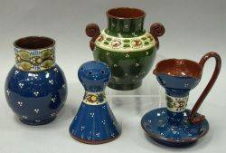 Longpark Ladybird Hatpin Holder an Aller Vale Ladybird Chamberstick and Vase and a German Ladybug Vase