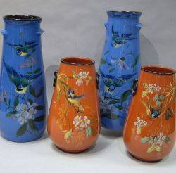 Pair of Lemon  Crute Bluebird and Floral Decorated Vases and a Pair of Torquay TerraCotta Co Bluebird and Floral Decorated Vases wit