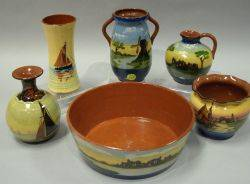 Long Park Tintern Abbey Landscape Fruit Bowl and Jug an Aller Vale Windmill Landscape TwoHandled Vase a Watcombe Faience Sailboat an
