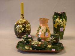 Aller Vale Barbotine Daisy Bottle Vase Watcombe FourPiece Floral Decorated Dresser Set a Longpark Daffodil Pinched Vase and a Torqu