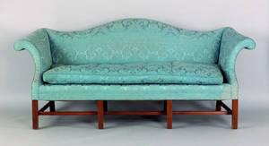 Chippendale style mahogany camelback sofa
