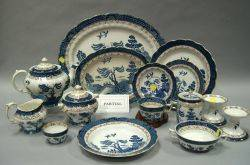 FiftyPiece Booths Gilt Blue and White Real Old Willow Pattern Transfer Decorated Partial Dinner Service
