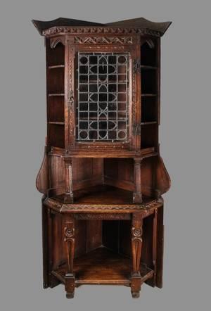 19th Century Gothic Revival Oak Corner Cabinet