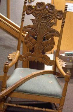 Late Victorian Calla Lily Carved Oak Armrockerdamage